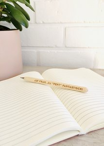 houten pen met tekst
